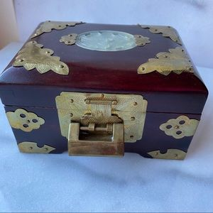 Vintage Chinese Wood and Brass Jewellery Box